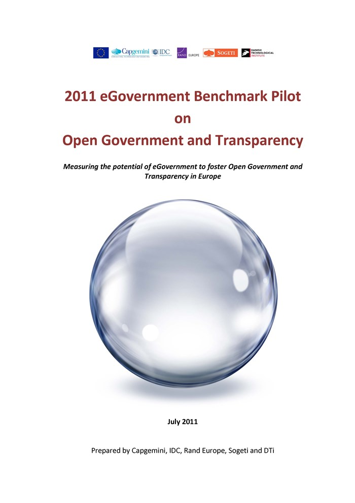 Afbeelding rapport 2011 eGovernment Benchmark Pilot on Open Government and Transparency