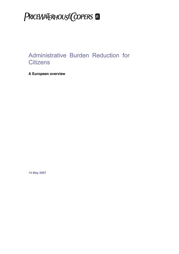 Afbeelding rapport Administrative Burden Reduction for Citizens
